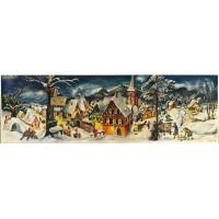 Adventskalender kaart winter dorpje