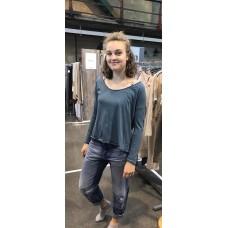 Ewa i Walla Staalblauw tricot shirt met lange mouw