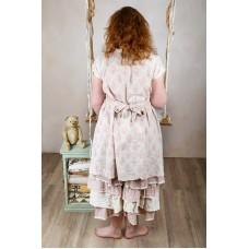 Les Ours Linnen asymmetrische jurk met knoopjes vage roos