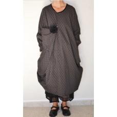 Les Ours Grijze jurk met zwarte stippen