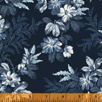 Windham dubbelbrede achterkant stof donkerblauwe bloem