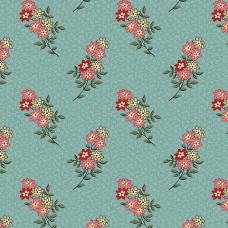 Max and Louise pattern co, Nana's Flower Garden, blauw met bloemetjes