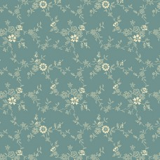 Max and Louise pattern co, Nana's Flower Garden, blauw creme bloemetjes