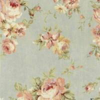 Lecien, Durham Quilt collection, grijsblauw grote bloem