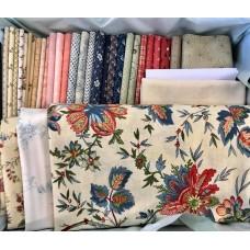 Stoffen pakket Zaans Huisje blauw/olijf/rood/roze Facebook project